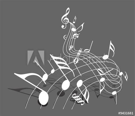 """""""Music theme - white notes on dark gray background with"""
