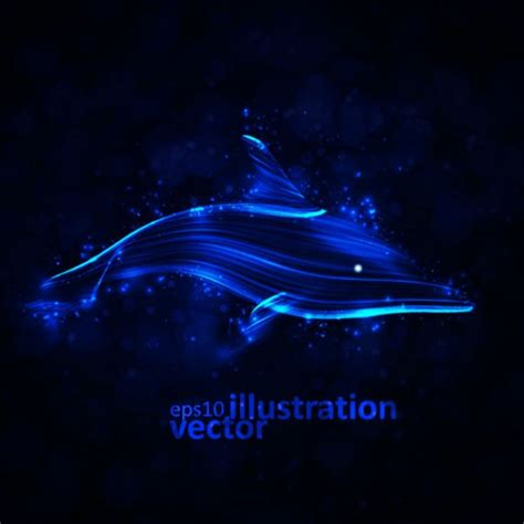 dolphin made in glowing lines in blue | download Free