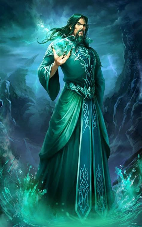 Male powerful sorcerer using powers of the elements