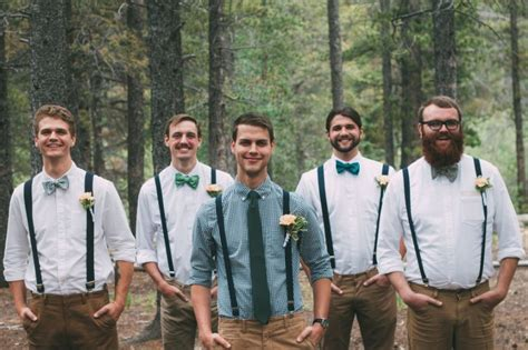 Button up dress shirts, bow ties, suspenders, and khaki