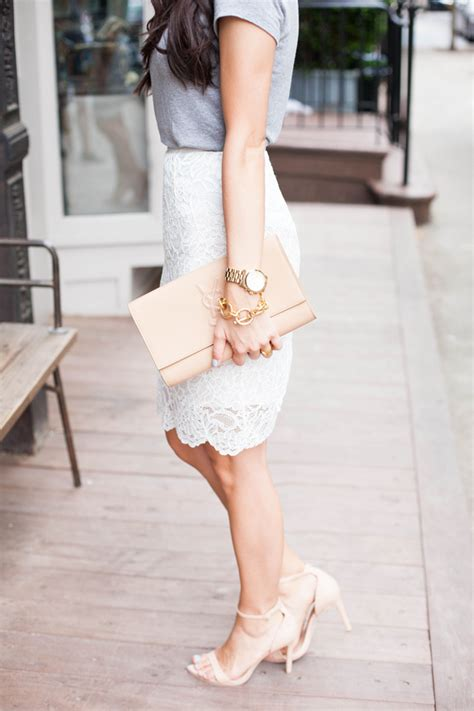 Day to night outfit: White lace pencil skirt and grey shirt