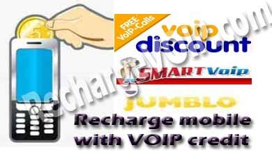 Mobile recharge with VOIP credit