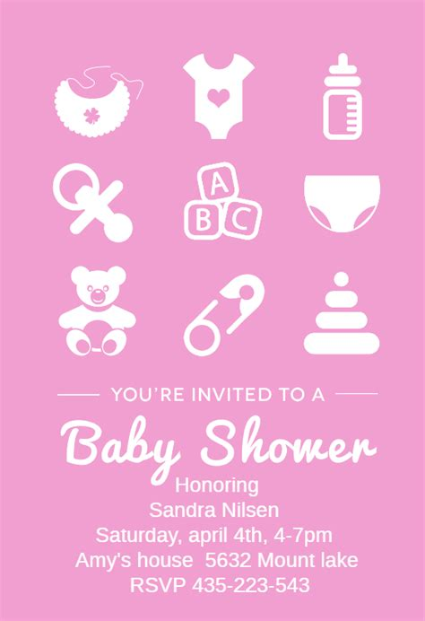 Pink Baby Items - Baby Shower Invitation Template (free